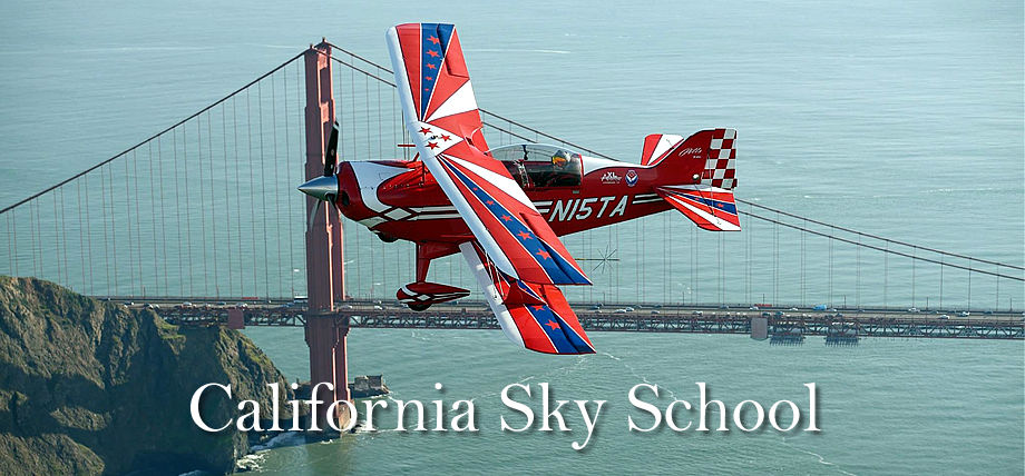 California Sky School (formerly California Sky Thrills) Pitts S-2C flying over the Golden Gate Bridge in San Francisco