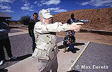 On the Covert Ops firing range: training in marksmanship, weapons safety and tactics, swat techniques, firearms, guns, safety, shooting, riflery, personal defense, pistols, handguns, compat wearpons and survival.