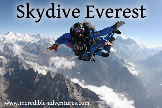 Skydive Everest 2015. Tandem parachute jump at the top of the world.