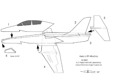 Plan for constructing a model L-39 Albatross from Incredible Adventures