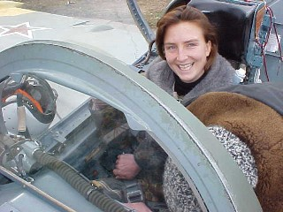 Caroline in the cockpit of the L-39, ready for her MiG-29 flight tomorrow.