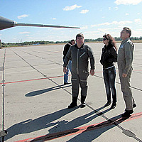 Tony with Sokol Test Pilot Sergey Kara and incredible airbase guide Irina on a pre-flight check of the MiG-29.