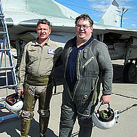 Tony flew a MiG-29 to the edge of space with Sokol Test Pilot Sergey Kara.