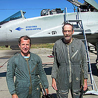 Jeremy and his pilot, Yuri Polyakov, stop for a photo in front of the legendary MiG-29. Jeremy is 6'4