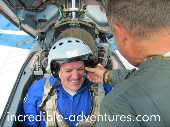 John receives his final instructions from pilot Yuri Polyakov. Call Incredible Adventures at 800-644-7382 if you'd like to fly a MiG over Russia.