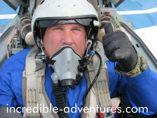Doug in the cockpit of a legendary MiG-29. If you'd like to fly a MiG over Russia, call 800-644-7382.
