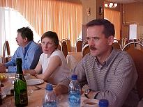 Commander Chris Hadfield and Russian Staff enjoy lunch at Star City
