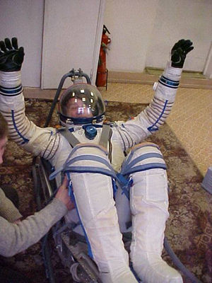 Wearing a full cosmonaut space suit is harder than it looks.