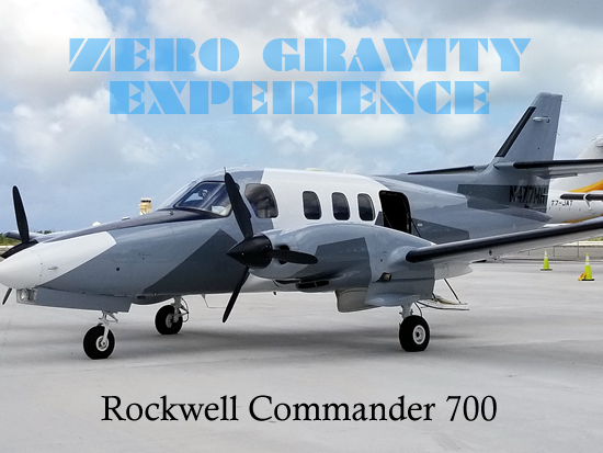 Rockwell Commander 700 - available for personal zero gravity flights, film shoots, scientific research and special projects by charter